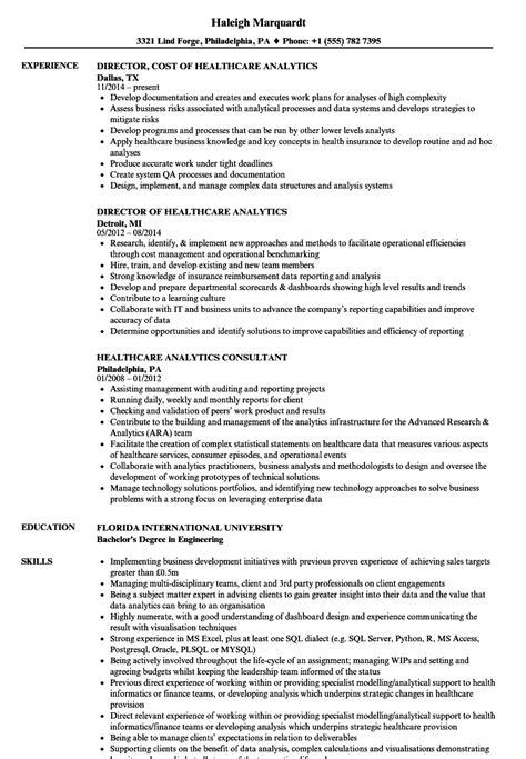 Exle Of Healthcare Resume by Healthcare Analytics Resume Sles Velvet