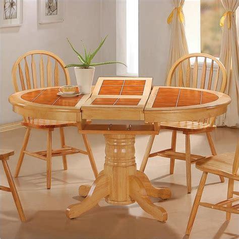tiled kitchen tables coaster damen oval tile top pedestal table with leaf 2794