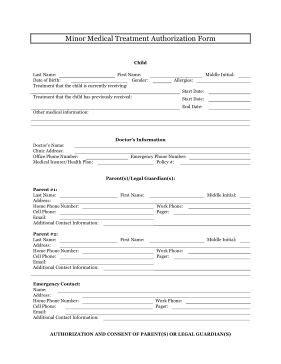 minor medical treatment authorization form
