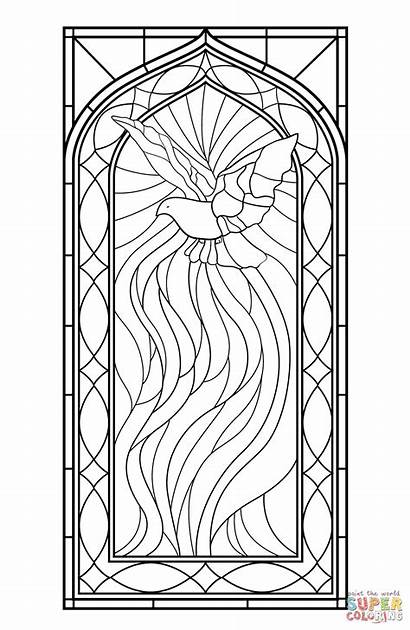 Stained Coloring Glass Pages Window Printable Windows