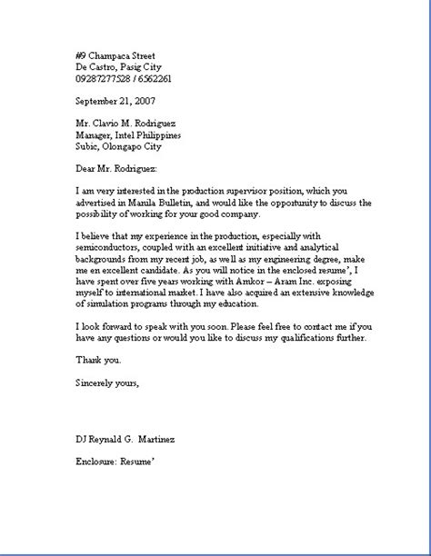 sle business letter application letter sle