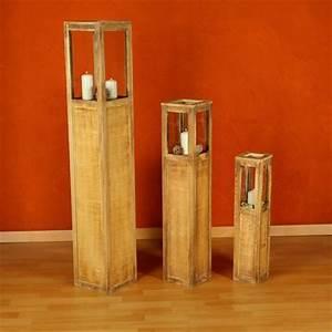 Kerzenständer Holz Groß : windlichterset wei braun 3 teilig windlichter laternen s ule kerze holzlaterne ebay ~ Eleganceandgraceweddings.com Haus und Dekorationen