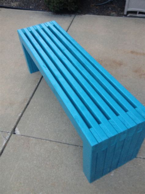 ana white modern slat top outdoor wood bench diy projects