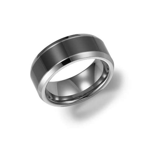 8mm Wide Tungsten Carbide Mens Wedding Band With Ceramic