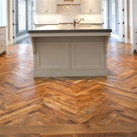 herringbone tile floor kitchen reclaimed antique granary oak mountain lumber company 4178