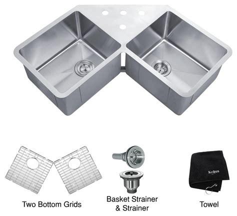 corner kitchen sinks undermount kraus khu301 45 45 inch undermount 50 50 bowl 16 5857