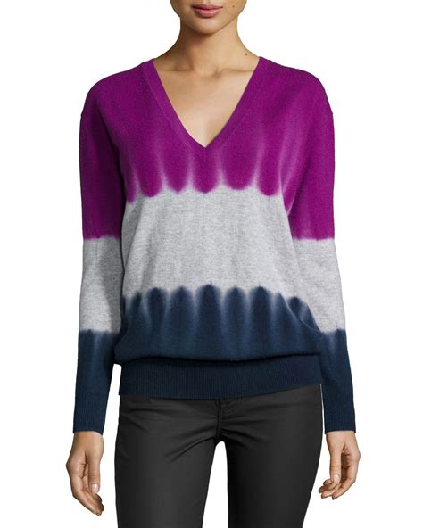 v neck sweater with tie autumn v neck tie dye sweater in blue lyst