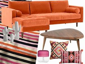 deco rose et orange le bon mix a adopter With tapis kilim avec canapé d angle moutarde