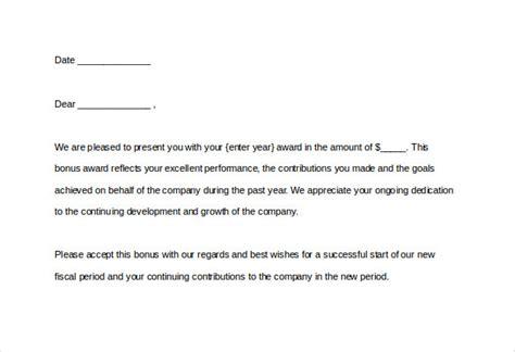 Employee Bonus Award Letter Sample