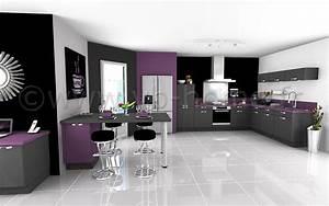 Cuisine Ouverte Salon : rideaux violet gris rideau oeillets microfibre noir motif ~ Voncanada.com Idées de Décoration