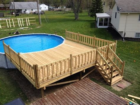 above ground swimming pools with decks decks com how do i build an above ground pool deck