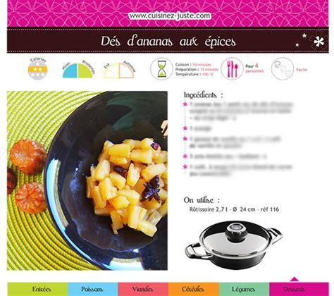 fiche recette cuisine fiche recette dessert dés d 39 ananas aux épices cuisine