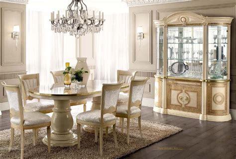 aida dining room set  beige  gold finish   italy