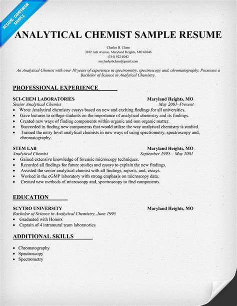 Analytical Chemist Cv Examples Please Help