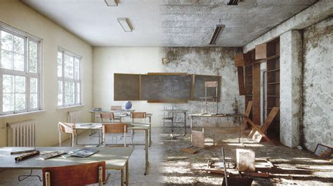 ArtStation - Abandoned classroom in chernobyl   Game Assets