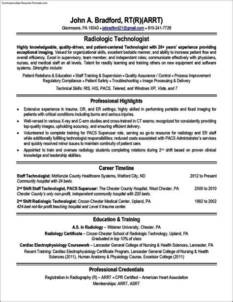 Radiologic Technologist Resume by Radiologic Technologist Resume Templates Free Sles