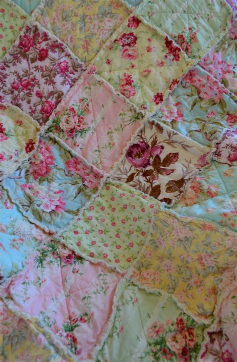 shabby fabrics rag quilt shabby chic french country rag quilt happy house pinterest