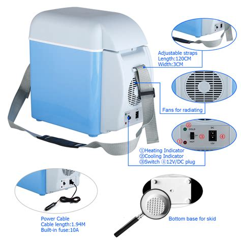 box fan sw cooler 7 5l mini 2 in 1 car cool box cooler warmer electric