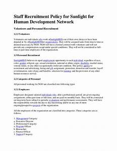 staff recruitment policy for sunlight for human With staff policy template