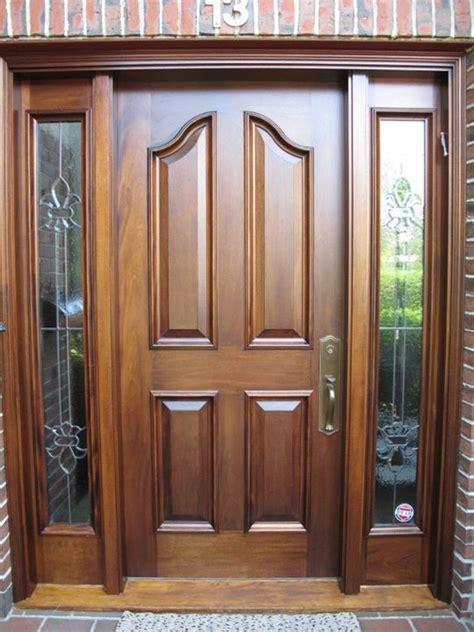 mahogany front door  dark oak stain seal  deck