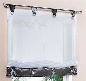 Raffrollo Weiß Grau : 2 st raffrollo 45 x 155 wei grau schwarz schlaufen ~ Lateststills.com Haus und Dekorationen