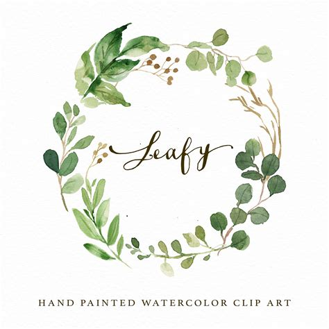 watercolor leaf wreath clipart leafy painted wedding
