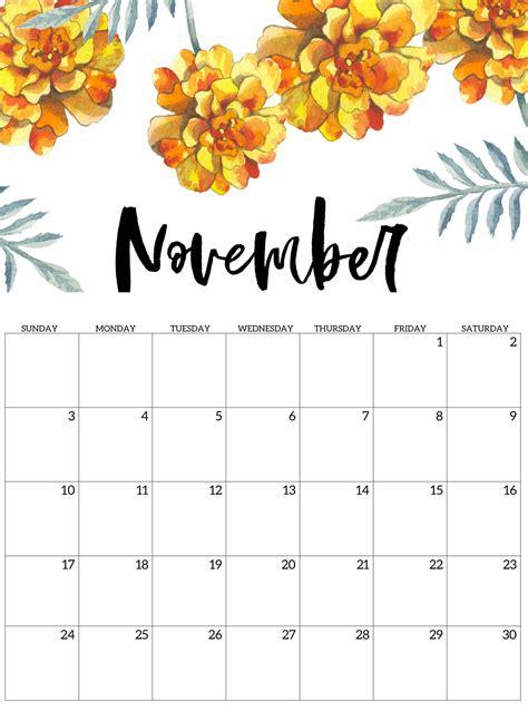 printable calendar november  excel sheets catchy
