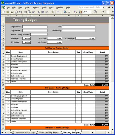 software testing template pack