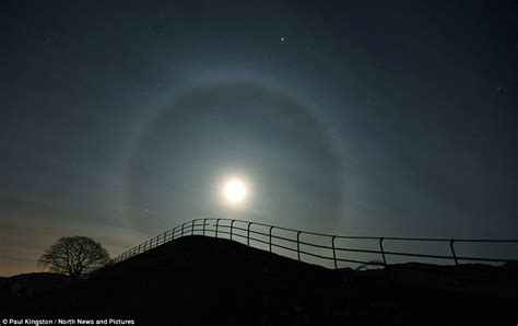 Halos Around Lights by Halo Formed Around The Moon As Light Bent By Crystals