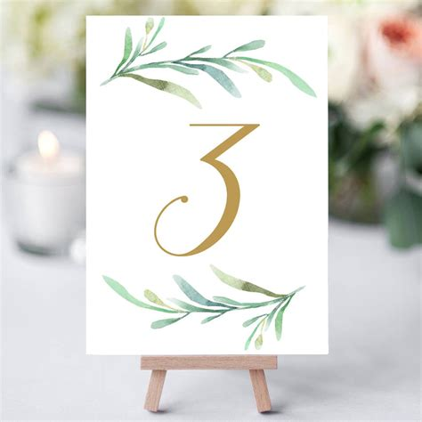 greenery wedding table numbers template printable