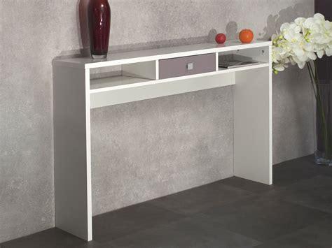 console design 1 tiroir 2 niches l120xp28xh79cm eos blanc taupe