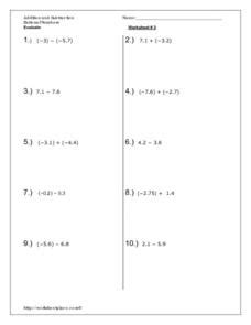 addition and subtraction rational numbers worksheet for