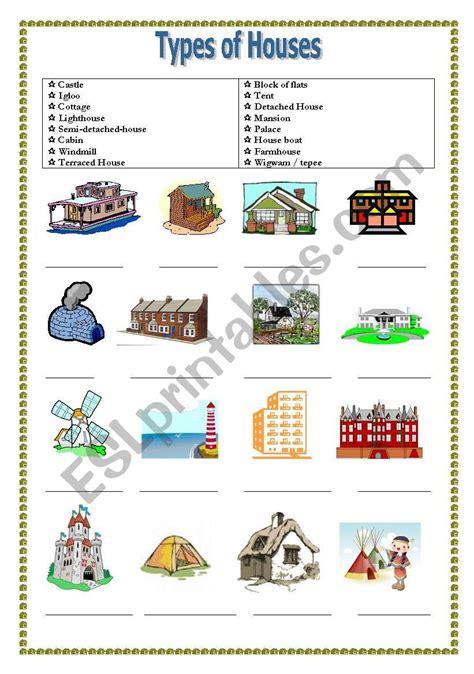 worksheet  types  houses geotwitter kids activities
