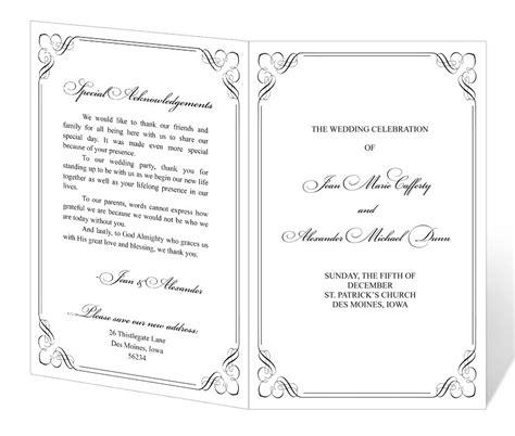 free downloadable wedding program template that can be printed wedding program design templates