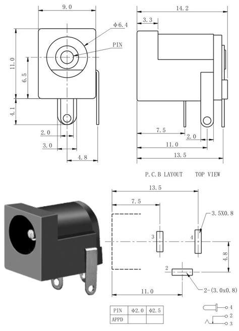 dc power jack mm barrel type pcb mount