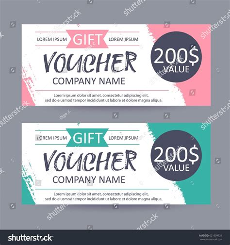 gift coupon template gift voucher template discount certificate gift stock vector 621609731