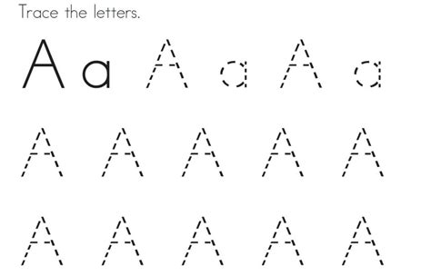 Tracing Letter A Pages For Kids To Colour In