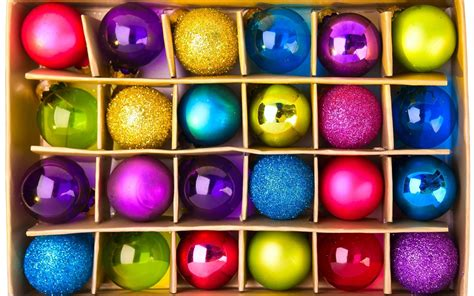 the colorful white colorful christmas balls in a box