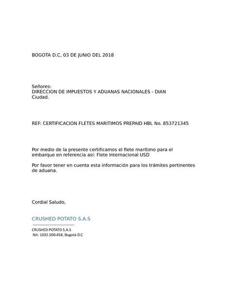 Calaméo - Carta Certificacion De Fletes
