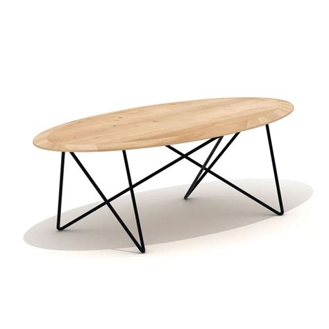 ethnicraft bureau grande table basse ovale table en chêne et métal orb