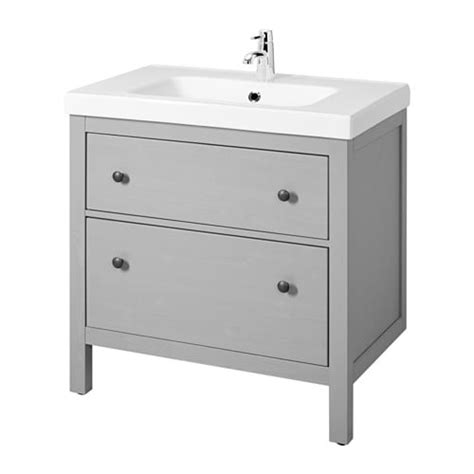 Ikea Bathroom Sink Reviews by Hemnes Odensvik Sink Cabinet With 2 Drawers Gray Ikea