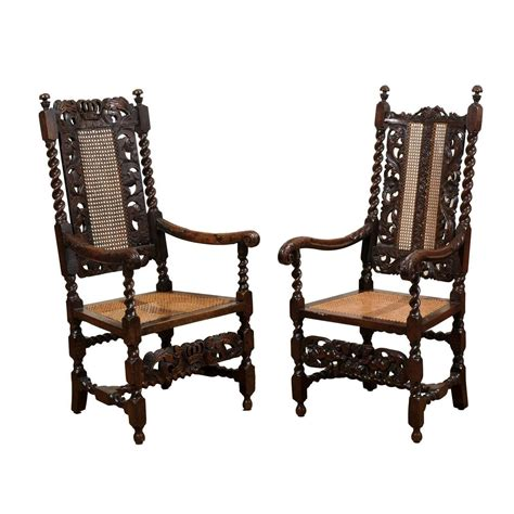 pair of 17th century barley twist arm chairs for