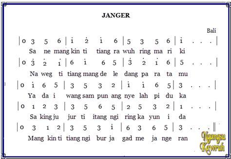 not angka pianika apuse lirik lagu janger asal bali sky fly bali tarian adat rumah adat pakaian adat