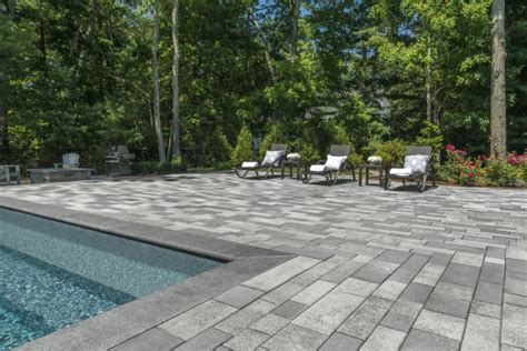 Patio And Pool With Beautiful Artline Pavers By Unilock