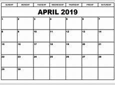 Download April 2019 Landscape & Portrait Calendar Template