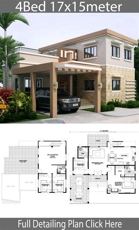 Home design 17x15m with 4 bedrooms Home building design