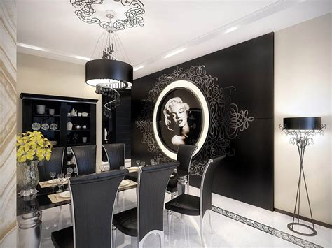 black and white home interior marilyn vintage apartment dining room decorating