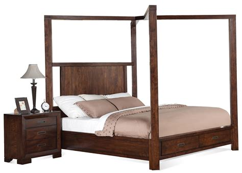 canopy king bed cal king canopy storage bed by riverside furniture wolf
