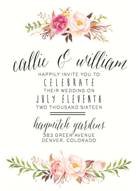 watercolor floral wedding invitation  splashofsilver