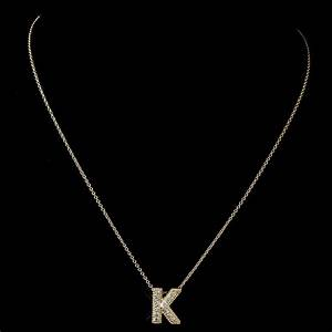 quotkquot clear rhinestone letter initial pendant necklace 1 With 2 letter initial necklace